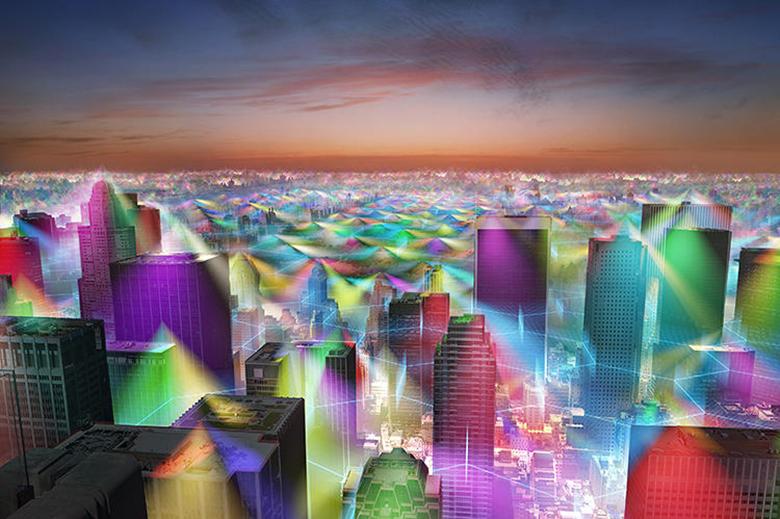 Visão além do alcance skyline de Nova York