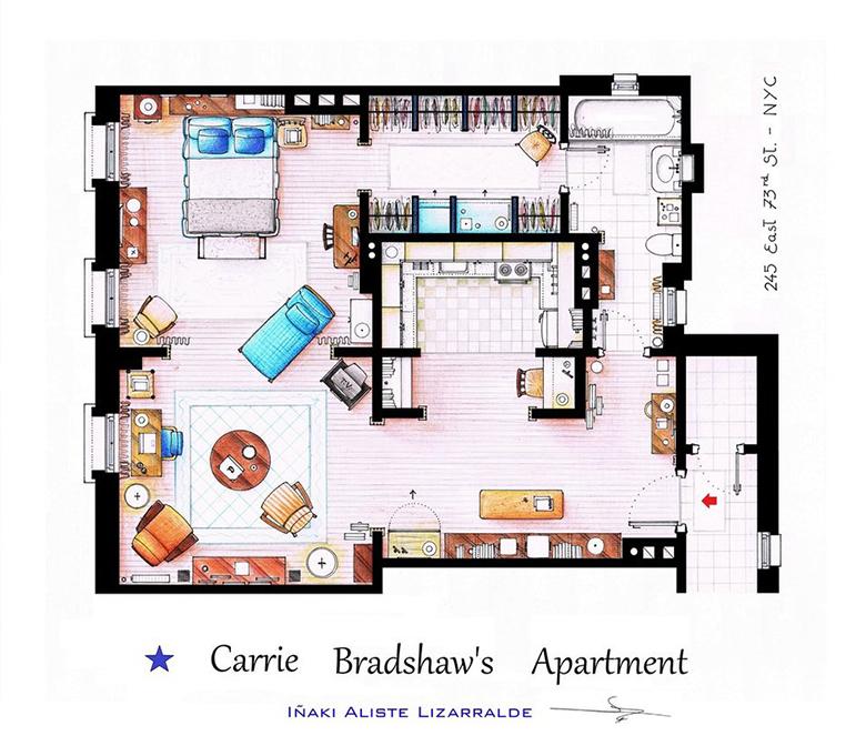 Uma casa muito engraçada no apartamento de Carrie Bradshaw