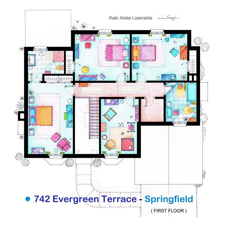 Uma casa muito engraçada, primeiro andar do lar dos Simpsons