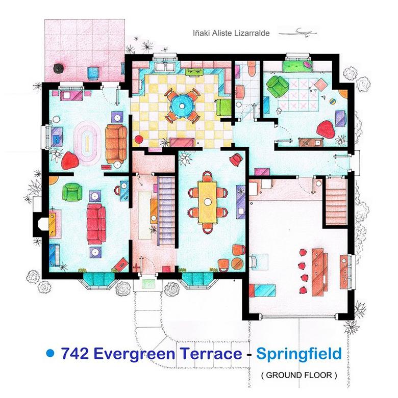 Uma casa muito engraçada, térreo dos Simpsons